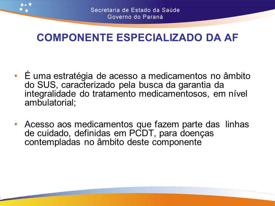 COMPONENTE ESPECIALIZADO DA AF É uma estratégia de acesso a medicamentos no âmbito do SUS, caracterizado pela busca da garantia da integralidade do tr