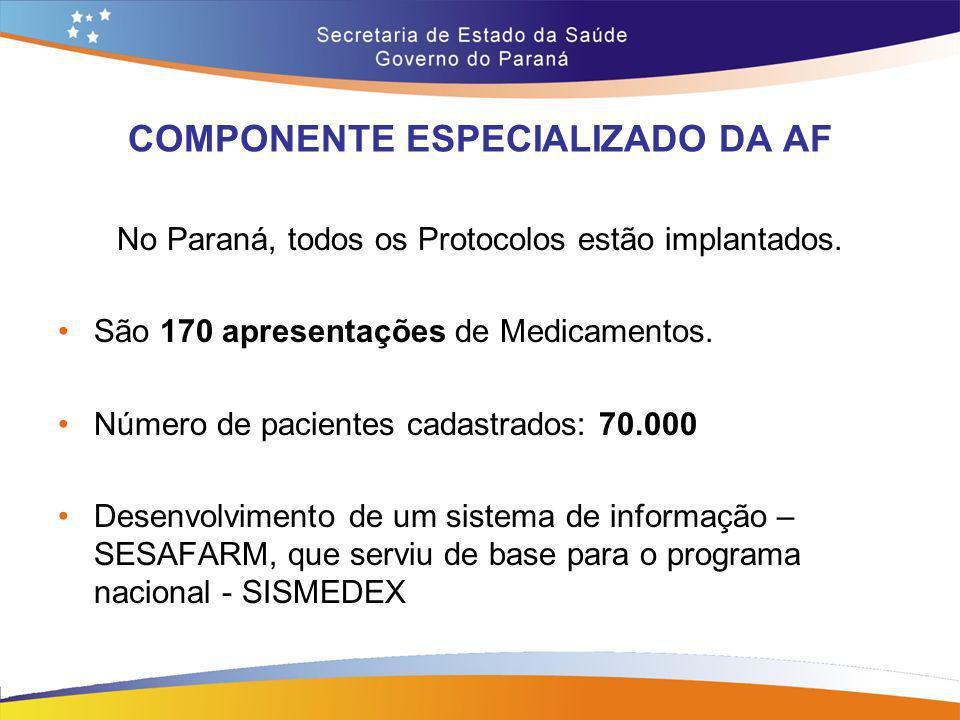 COMPONENTE ESPECIALIZADO DA AF No Paraná, todos os Protocolos estão implantados. São 170 apresentações de Medicamentos. Número de pacientes cadastrado