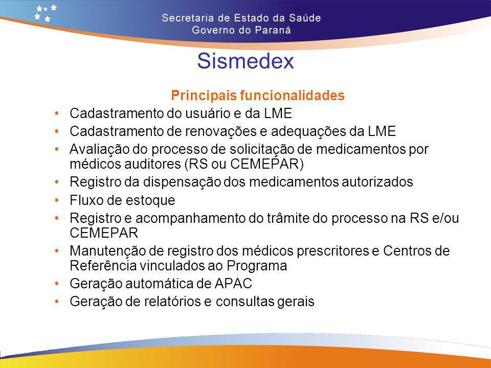 Sismedex Principais funcionalidades Cadastramento do usuário e da LME Cadastramento de renovações e adequações da LME Avaliação do processo de solicit