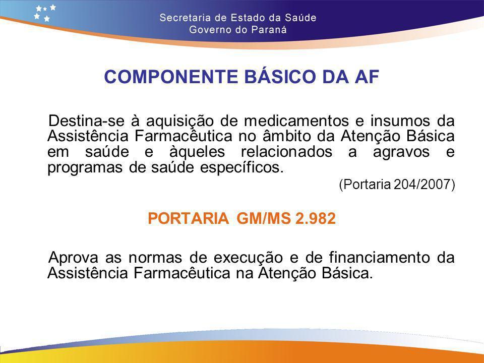 COMPONENTE BÁSICO DA AF Destina-se à aquisição de medicamentos e insumos da Assistência Farmacêutica no âmbito da Atenção Básica em saúde e àqueles re