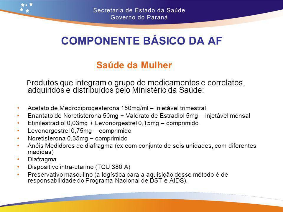 COMPONENTE BÁSICO DA AF Saúde da Mulher P rodutos que integram o grupo de medicamentos e correlatos, adquiridos e distribuídos pelo Ministério da Saúd