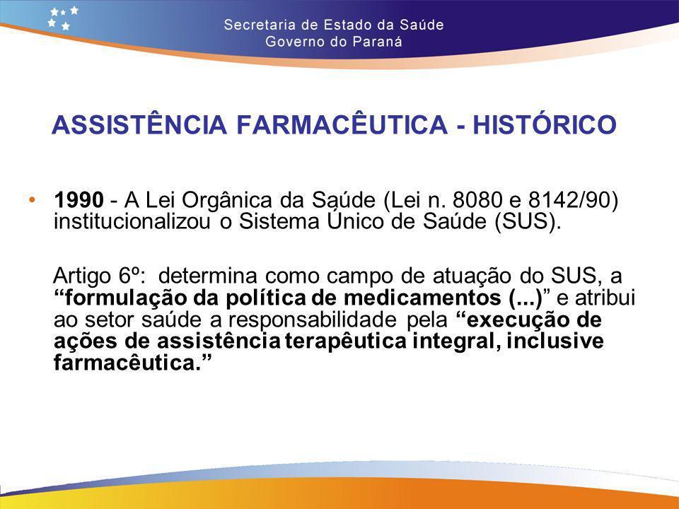 ASSISTÊNCIA FARMACÊUTICA - HISTÓRICO 1990 - A Lei Orgânica da Saúde (Lei n. 8080 e 8142/90) institucionalizou o Sistema Único de Saúde (SUS). Artigo 6