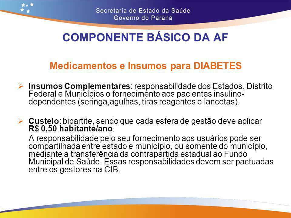 COMPONENTE BÁSICO DA AF Medicamentos e Insumos para DIABETES Insumos Complementares: responsabilidade dos Estados, Distrito Federal e Municípios o for