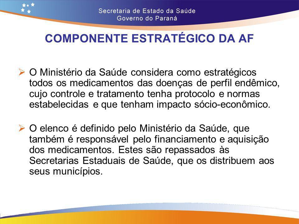 COMPONENTE ESTRATÉGICO DA AF O Ministério da Saúde considera como estratégicos todos os medicamentos das doenças de perfil endêmico, cujo controle e t
