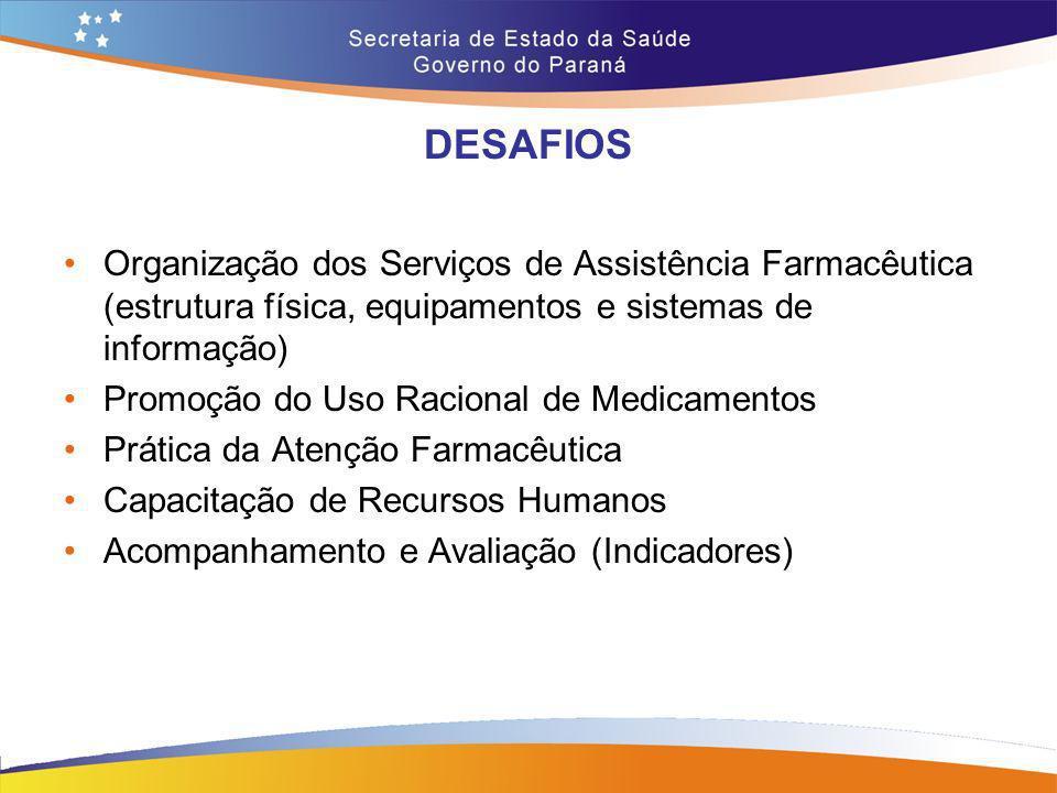 DESAFIOS Organização dos Serviços de Assistência Farmacêutica (estrutura física, equipamentos e sistemas de informação) Promoção do Uso Racional de Me