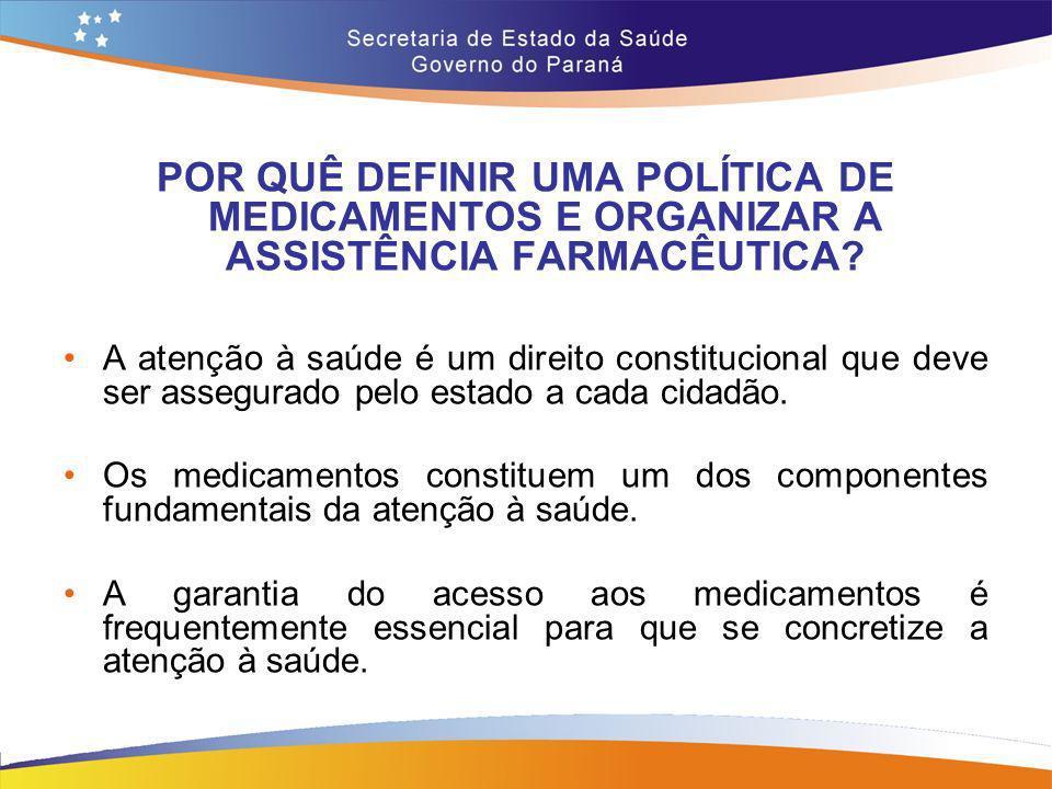 POR QUÊ DEFINIR UMA POLÍTICA DE MEDICAMENTOS E ORGANIZAR A ASSISTÊNCIA FARMACÊUTICA? A atenção à saúde é um direito constitucional que deve ser assegu