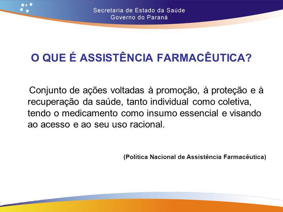 O QUE É ASSISTÊNCIA FARMACÊUTICA? Conjunto de ações voltadas à promoção, à proteção e à recuperação da saúde, tanto individual como coletiva, tendo o