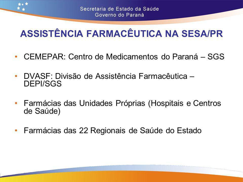ASSISTÊNCIA FARMACÊUTICA NA SESA/PR CEMEPAR: Centro de Medicamentos do Paraná – SGS DVASF: Divisão de Assistência Farmacêutica – DEPI/SGS Farmácias da