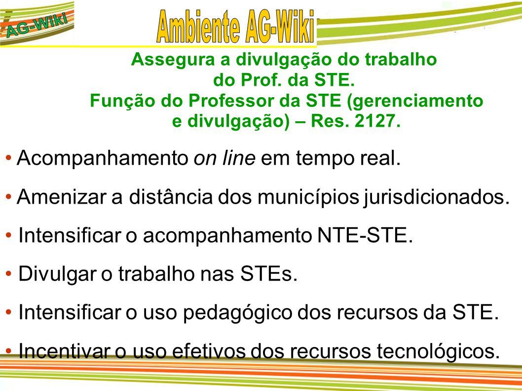 Assegura a divulgação do trabalho do Prof. da STE. Função do Professor da STE (gerenciamento e divulgação) – Res. 2127. Acompanhamento on line em temp