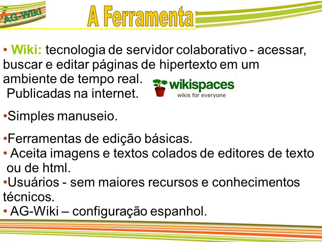 Wiki: tecnologia de servidor colaborativo - acessar, buscar e editar páginas de hipertexto em um ambiente de tempo real. Publicadas na internet. Simpl