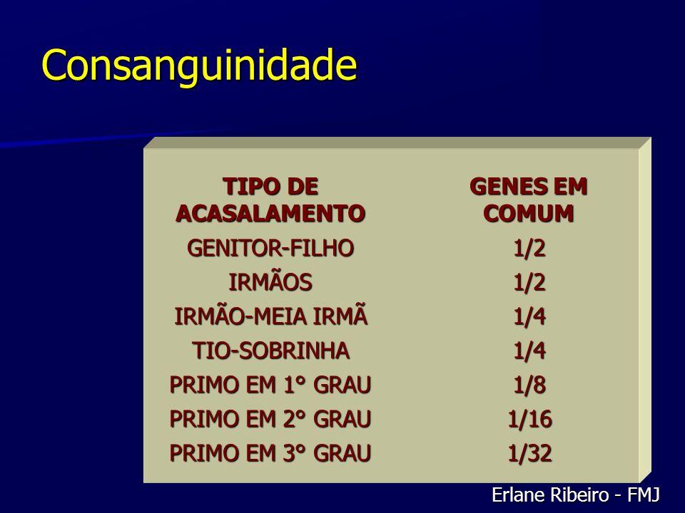 Consanguinidade TIPO DE ACASALAMENTO GENES EM COMUM GENITOR-FILHO1/2 IRMÃOS1/2 IRMÃO-MEIA IRMÃ 1/4 TIO-SOBRINHA1/4 PRIMO EM 1° GRAU 1/8 PRIMO EM 2° GR