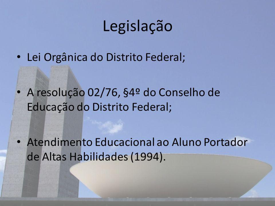 Legislação Lei Orgânica do Distrito Federal; A resolução 02/76, §4º do Conselho de Educação do Distrito Federal; Atendimento Educacional ao Aluno Port
