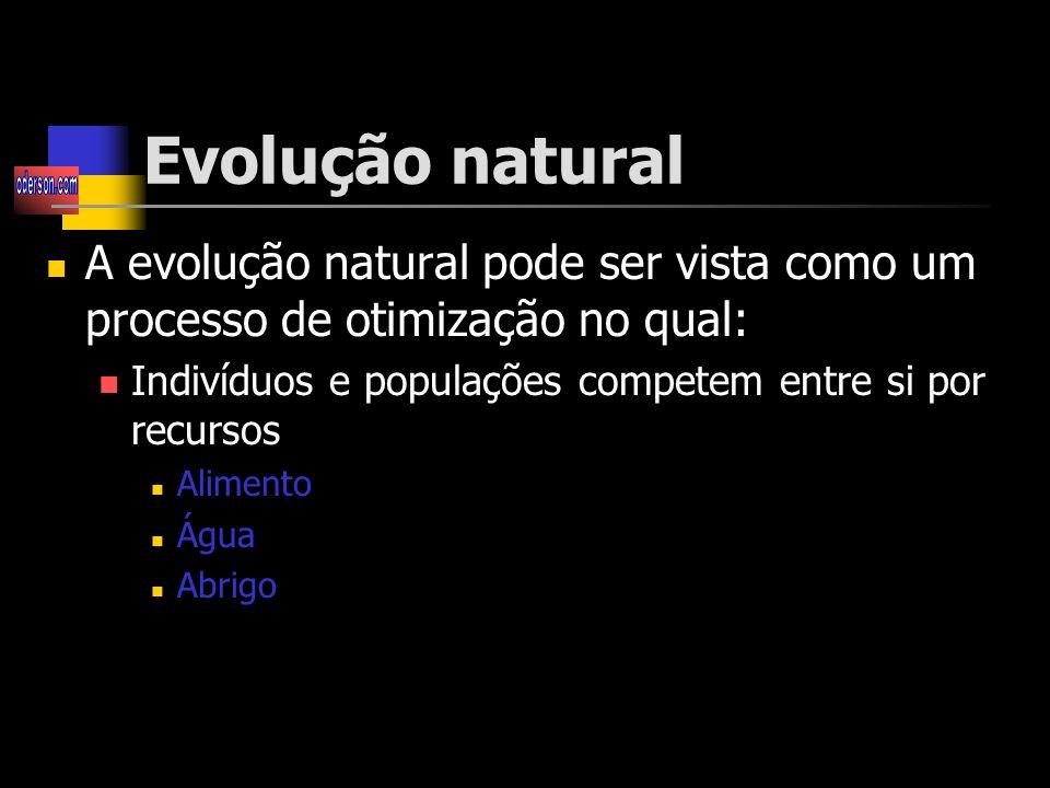 Evolução natural A evolução natural pode ser vista como um processo de otimização no qual: Indivíduos e populações competem entre si por recursos Alimento Água Abrigo