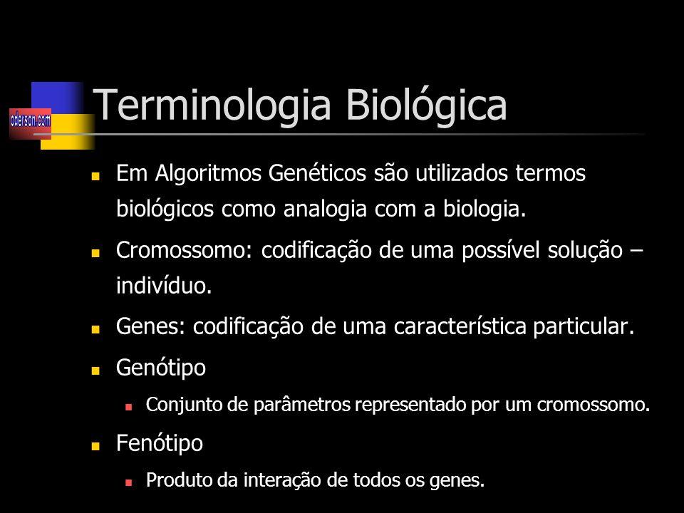 Terminologia Biológica Em Algoritmos Genéticos são utilizados termos biológicos como analogia com a biologia.