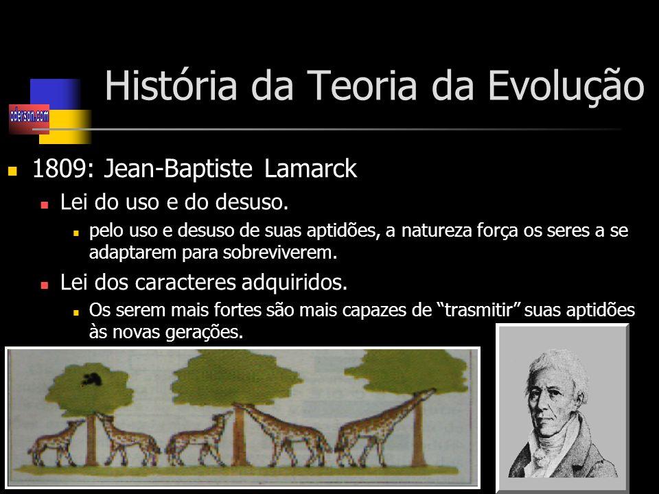 História da Teoria da Evolução 1809: Jean-Baptiste Lamarck Lei do uso e do desuso.