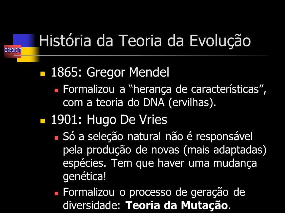 História da Teoria da Evolução 1865: Gregor Mendel Formalizou a herança de características, com a teoria do DNA (ervilhas).