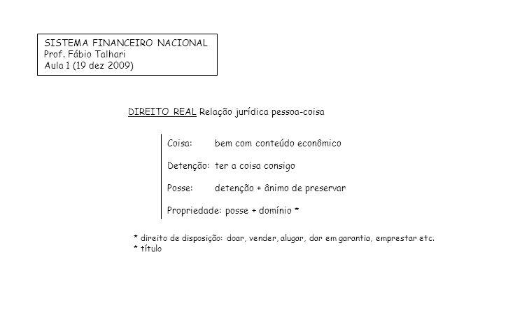 SISTEMA FINANCEIRO NACIONAL Prof. Fábio Talhari Aula 1 (19 dez 2009) Coisa:bem com conteúdo econômico Detenção:ter a coisa consigo Posse:detenção + ân