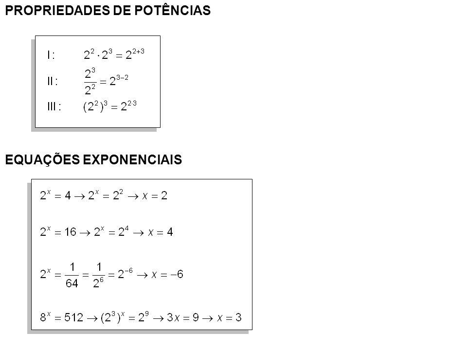 PROPRIEDADES DE POTÊNCIAS EQUAÇÕES EXPONENCIAIS