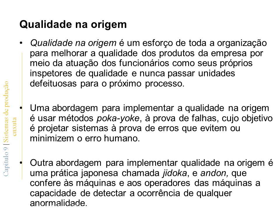 Qualidade na origem Qualidade na origem é um esforço de toda a organização para melhorar a qualidade dos produtos da empresa por meio da atuação dos f