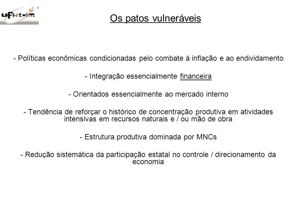 - Políticas econômicas condicionadas pelo combate à inflação e ao endividamento - Integração essencialmente financeira - Orientados essencialmente ao