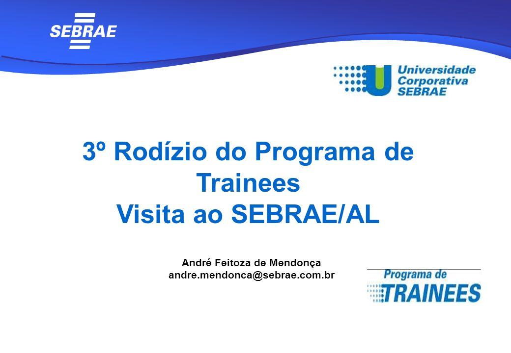 André Feitoza de Mendonça andre.mendonca@sebrae.com.br 3º Rodízio do Programa de Trainees Visita ao SEBRAE/AL