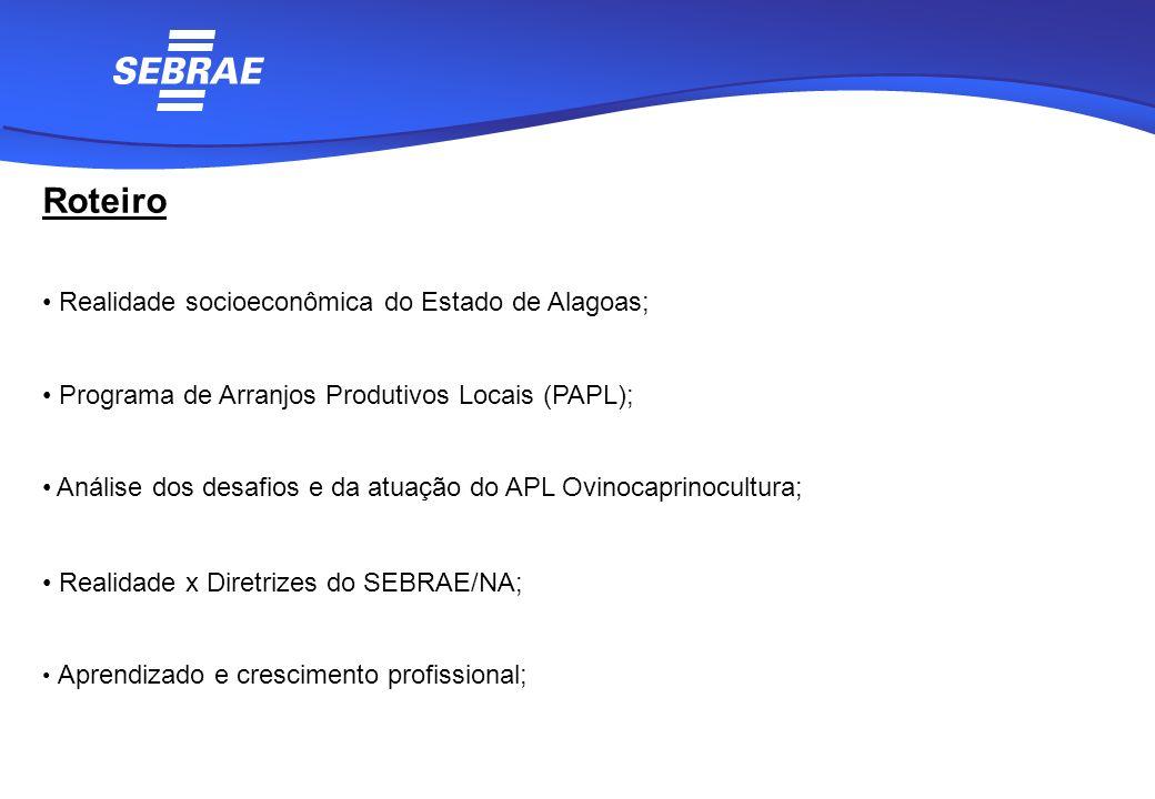 Roteiro Realidade socioeconômica do Estado de Alagoas; Programa de Arranjos Produtivos Locais (PAPL); Análise dos desafios e da atuação do APL Ovinoca