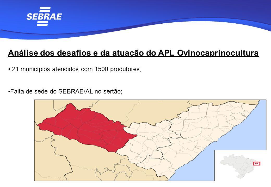 Análise dos desafios e da atuação do APL Ovinocaprinocultura 21 municípios atendidos com 1500 produtores; Falta de sede do SEBRAE/AL no sertão;