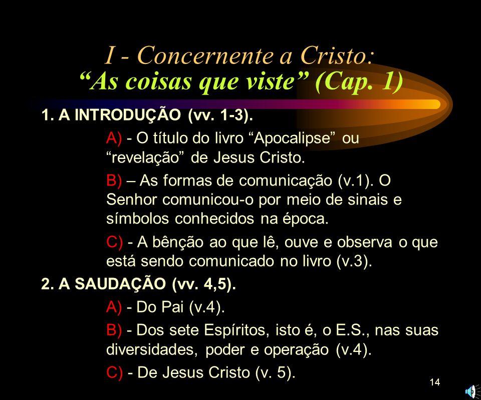 13 Conteúdo do livro A análise de 1.19, fornece as três divisões principais do livro: I – A respeito de Cristo: As coisas que viste (capítulo 2- 3); I