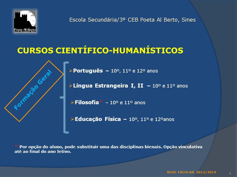 Ensino regular 3 Escola Secundária/3º CEB Poeta Al Berto, Sines 3º Ciclo do Ensino Básico Ensino Secundário: Ensino Secundário: CURSOS CIENTÍFICO-HUMA