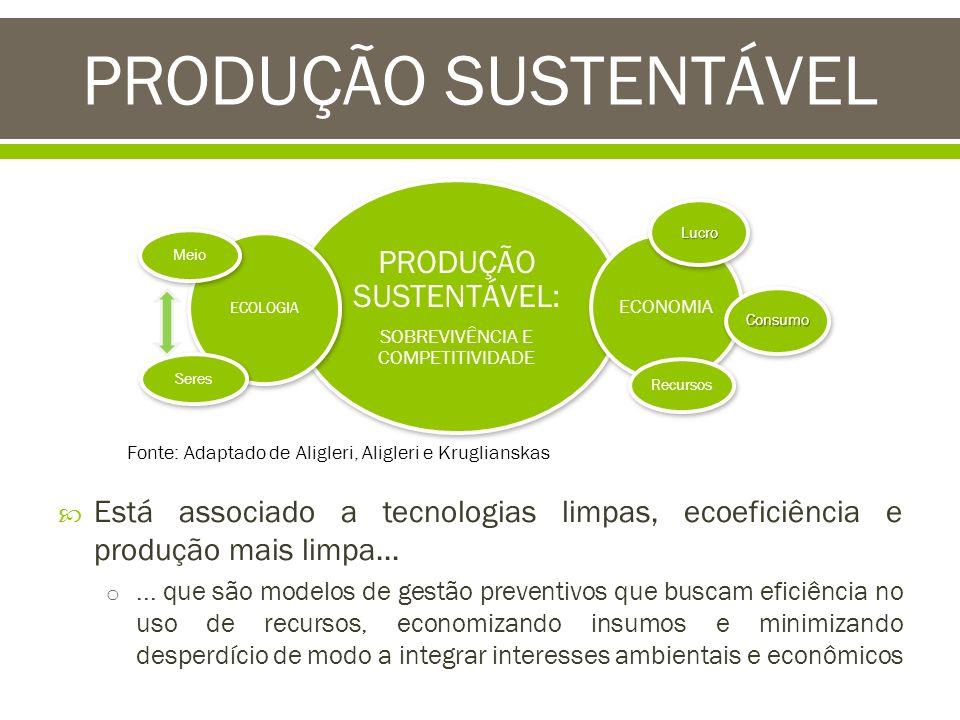 Está associado a tecnologias limpas, ecoeficiência e produção mais limpa... o... que são modelos de gestão preventivos que buscam eficiência no uso de