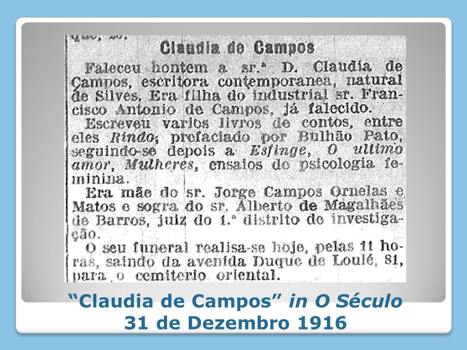 Claudia de Campos in O Século 31 de Dezembro 1916