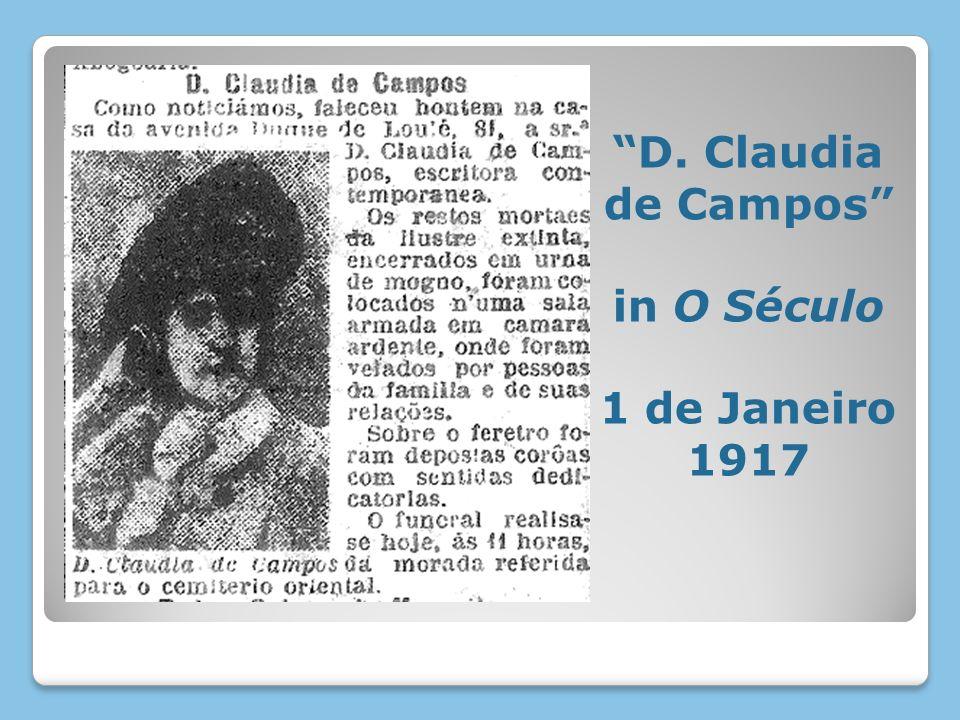 D. Claudia de Campos in O Século 1 de Janeiro 1917