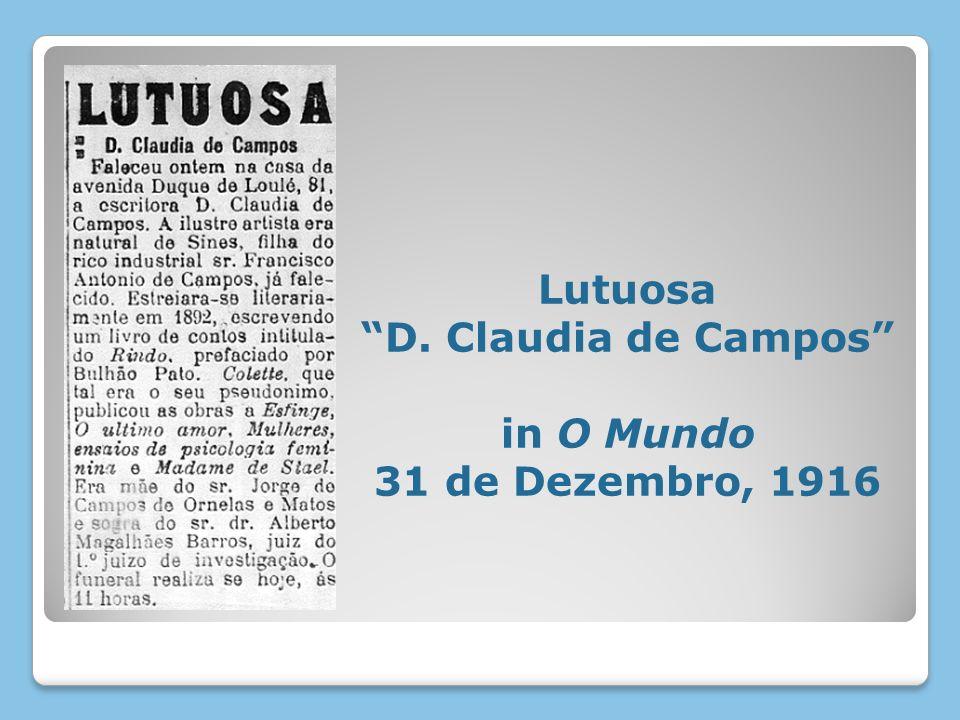 Lutuosa D. Claudia de Campos in O Mundo 31 de Dezembro, 1916