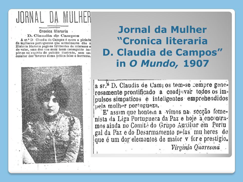 Jornal da Mulher Cronica literaria D. Claudia de Campos in O Mundo, 1907