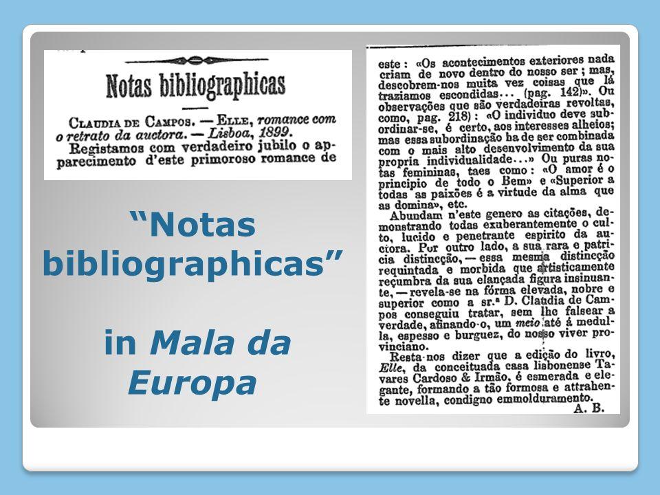 Notas bibliographicas in Mala da Europa