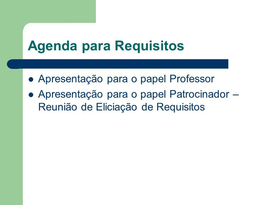 Agenda para Requisitos Apresentação para o papel Professor Apresentação para o papel Patrocinador – Reunião de Eliciação de Requisitos