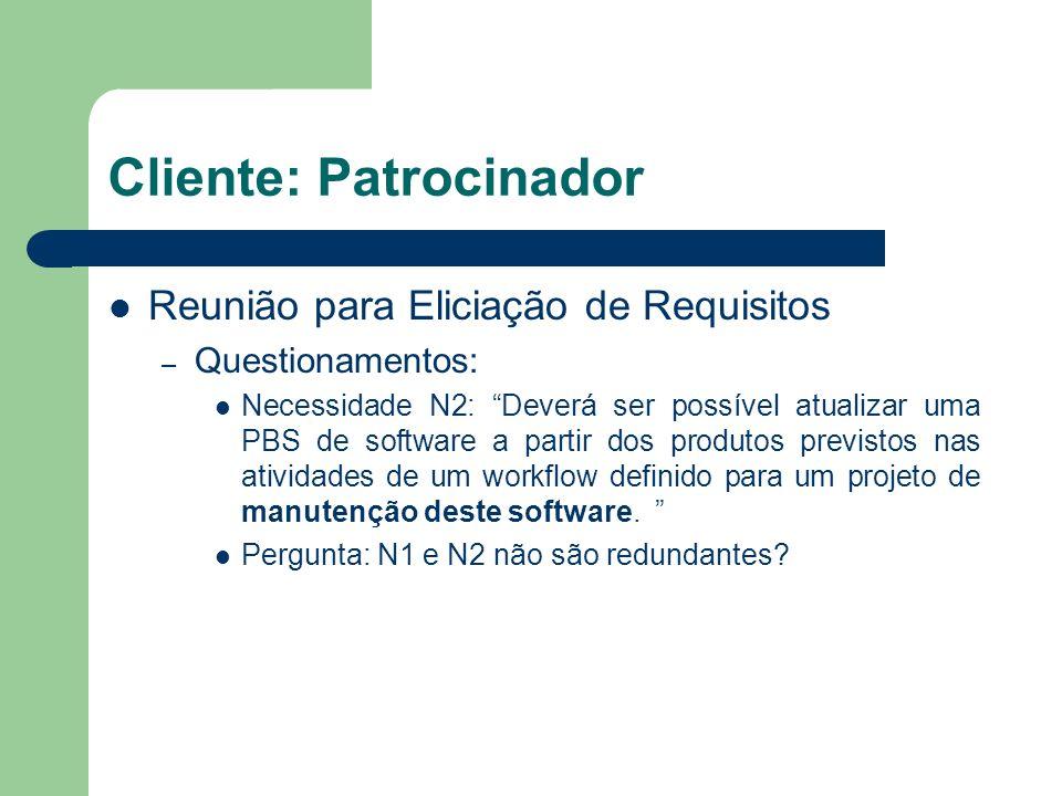 Cliente: Patrocinador Reunião para Eliciação de Requisitos – Questionamentos: Necessidade N2: Deverá ser possível atualizar uma PBS de software a part