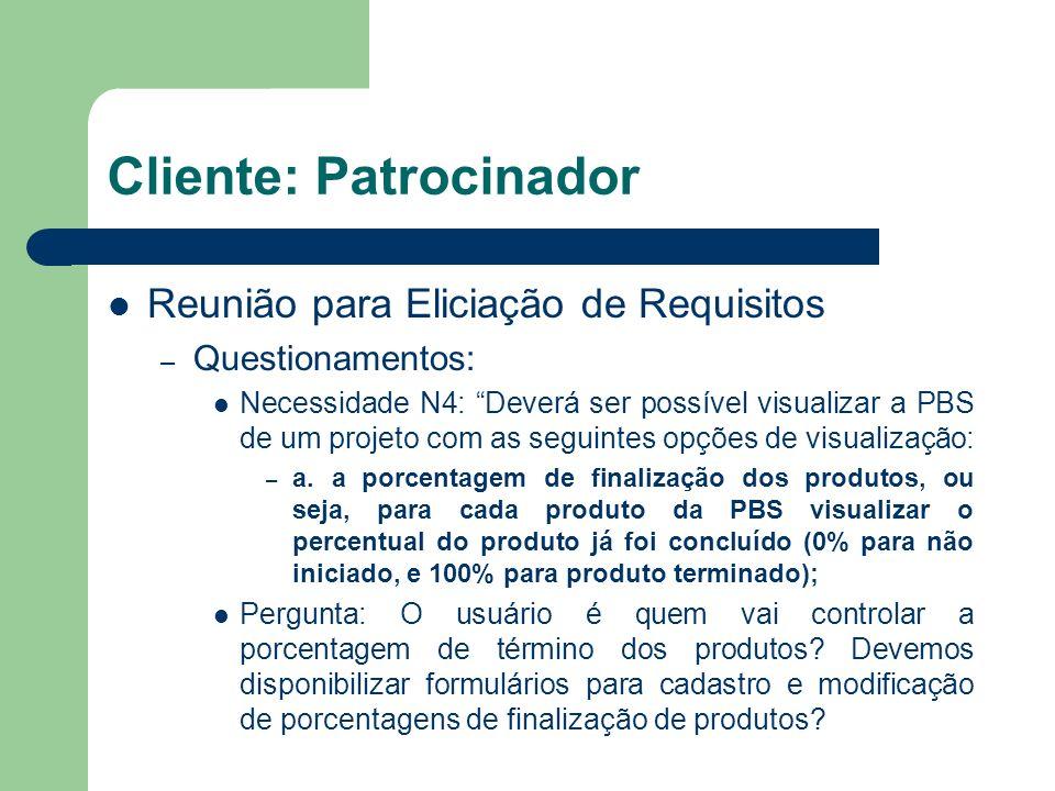 Cliente: Patrocinador Reunião para Eliciação de Requisitos – Questionamentos: Necessidade N4: Deverá ser possível visualizar a PBS de um projeto com a