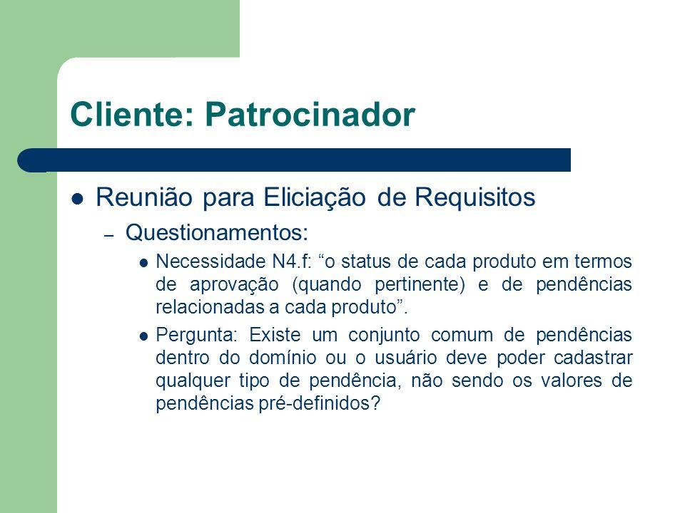 Cliente: Patrocinador Reunião para Eliciação de Requisitos – Questionamentos: Necessidade N4.f: o status de cada produto em termos de aprovação (quand