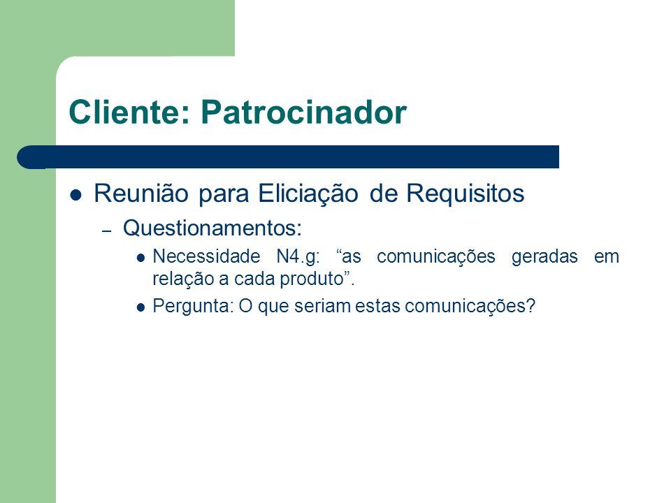Cliente: Patrocinador Reunião para Eliciação de Requisitos – Questionamentos: Necessidade N4.g: as comunicações geradas em relação a cada produto. Per