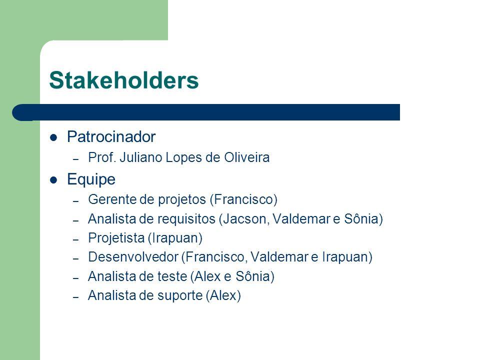 Stakeholders Patrocinador – Prof. Juliano Lopes de Oliveira Equipe – Gerente de projetos (Francisco) – Analista de requisitos (Jacson, Valdemar e Sôni