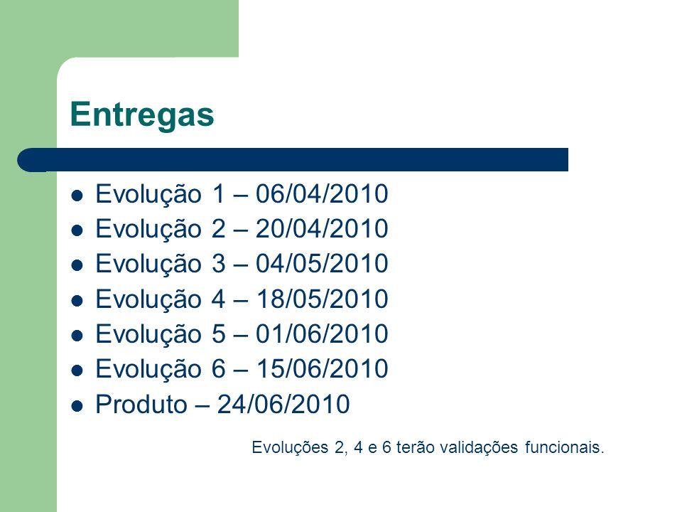 Entregas Evolução 1 – 06/04/2010 Evolução 2 – 20/04/2010 Evolução 3 – 04/05/2010 Evolução 4 – 18/05/2010 Evolução 5 – 01/06/2010 Evolução 6 – 15/06/20