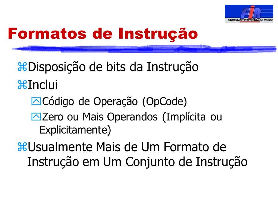Formatos de Instrução zDisposição de bits da Instrução zInclui yCódigo de Operação (OpCode) yZero ou Mais Operandos (Implícita ou Explicitamente) zUsu