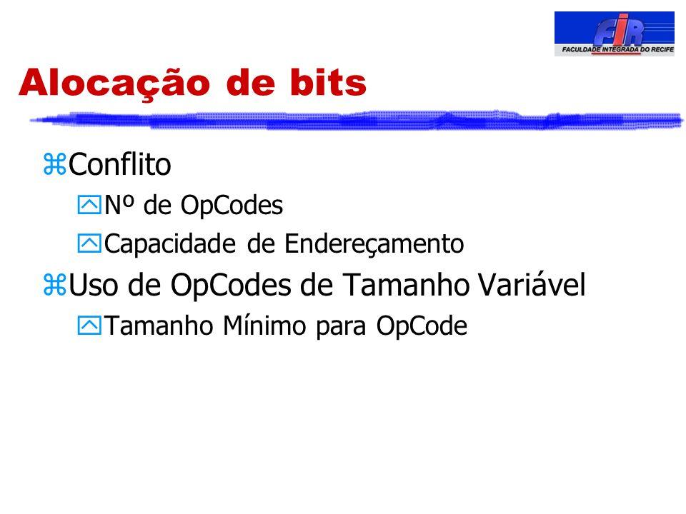 Alocação de bits zConflito yNº de OpCodes yCapacidade de Endereçamento zUso de OpCodes de Tamanho Variável yTamanho Mínimo para OpCode
