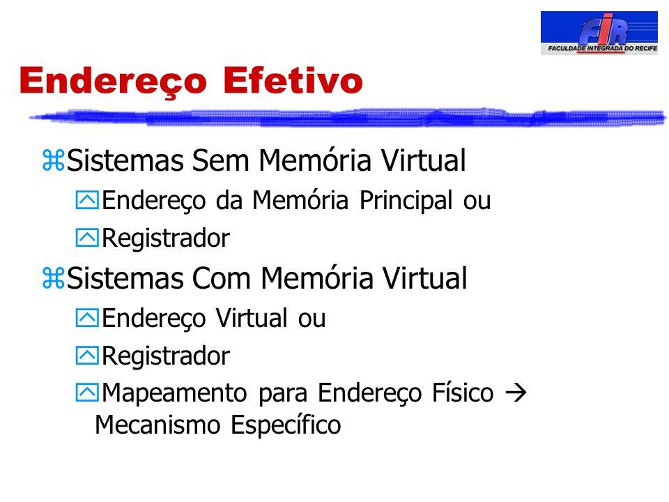 Endereço Efetivo zSistemas Sem Memória Virtual yEndereço da Memória Principal ou yRegistrador zSistemas Com Memória Virtual yEndereço Virtual ou yRegi