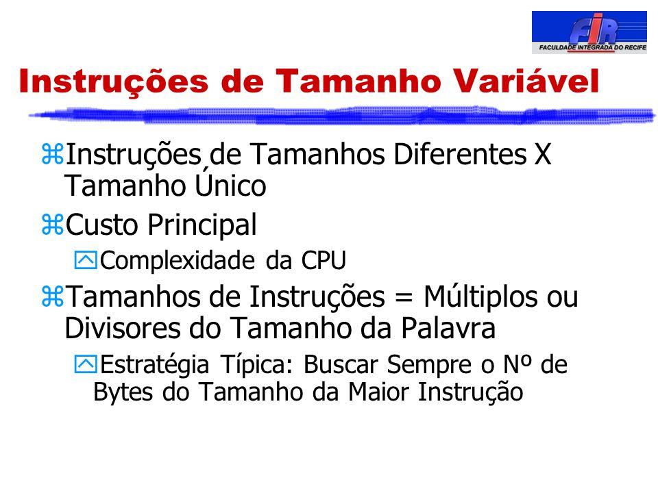 Instruções de Tamanho Variável zInstruções de Tamanhos Diferentes X Tamanho Único zCusto Principal yComplexidade da CPU zTamanhos de Instruções = Múlt