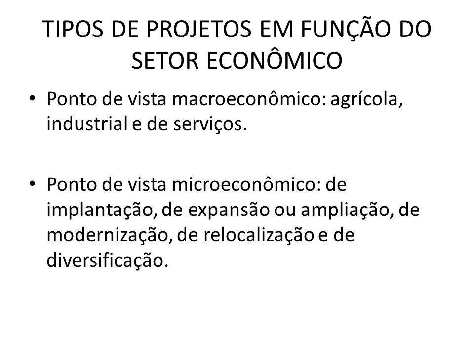 TIPOS DE PROJETOS EM FUNÇÃO DO SETOR ECONÔMICO Ponto de vista macroeconômico: agrícola, industrial e de serviços. Ponto de vista microeconômico: de im