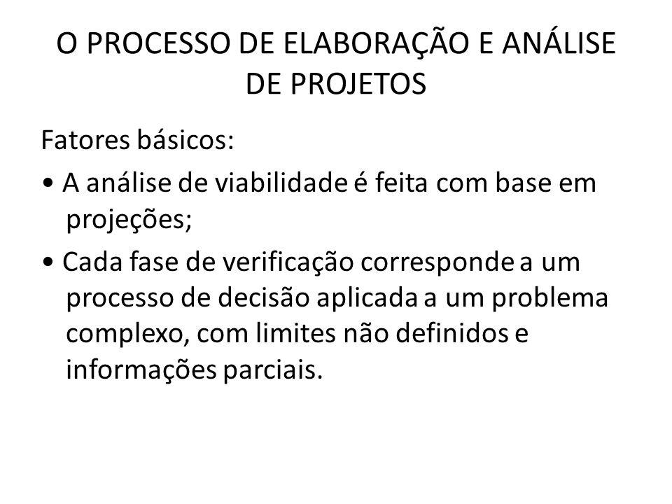 O PROCESSO DE ELABORAÇÃO E ANÁLISE DE PROJETOS Fatores básicos: A análise de viabilidade é feita com base em projeções; Cada fase de verificação corre