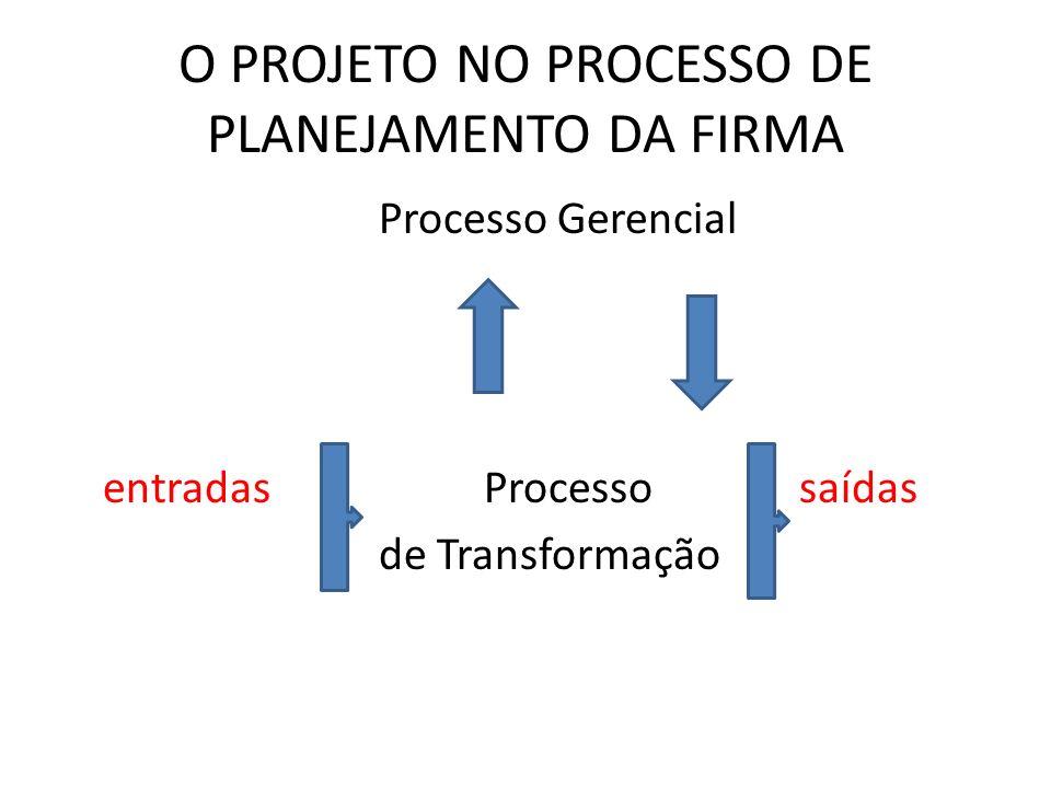O PROJETO NO PROCESSO DE PLANEJAMENTO DA FIRMA Processo Gerencial entradasProcesso saídas de Transformação