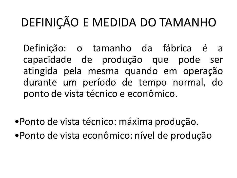 DEFINIÇÃO E MEDIDA DO TAMANHO Definição: o tamanho da fábrica é a capacidade de produção que pode ser atingida pela mesma quando em operação durante u